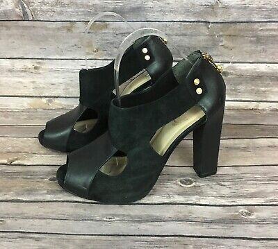 Kat Maconie Black Peep Toe Sandals (Size: 9)