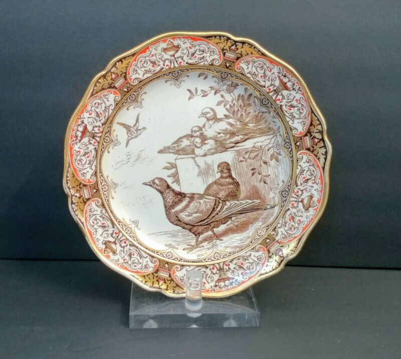 RARE Wedgwood Rural Scenes Birds Plate 1877 Aesthetic Movement Transferware