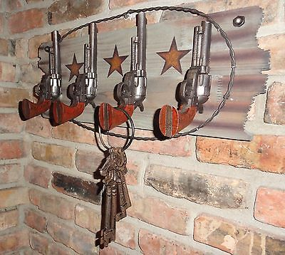 Pistol gun slinger wall Hook Wood Home Decor key rack Texas Ranch Gun wild west