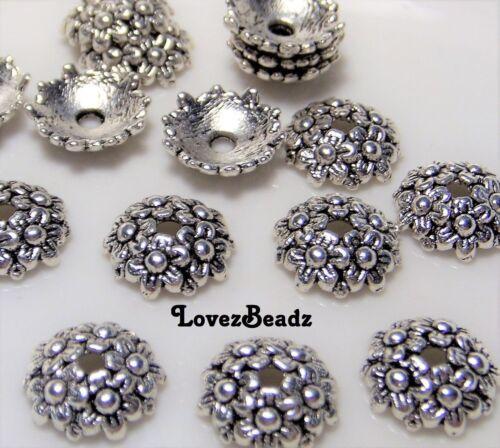 20pcs 10mm Silver finish Ornate flower bead caps-Jewelry Making Supplies Lot