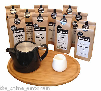 BLACK FOR LIFE TEAPOT & INFUSER, BAMBOO TRAY & CREAMER -OPTI