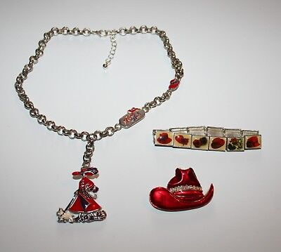 (RED HAT SOCIETY JEWELRY LOT  - NECKLACE, BRACELET & HAT BROOCH PIN)