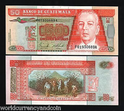 GUATEMALA 50 QUETZAL P113 2006 BIRD CROP WORKER UNC LATINO CURRENCY BANK NOTE