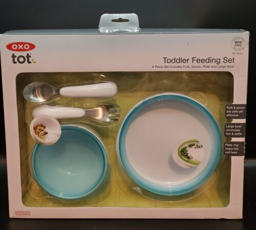 Brand New OXO Tot Toddler 4 Piece Feeding Set BPA Free AQUA