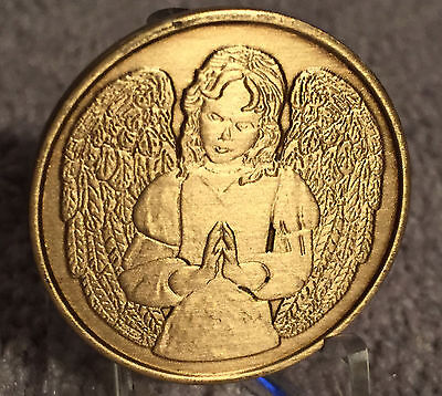 An Angel To Be With You When I Cannot Bronze Medallion Chip Coin AA NA Recovery