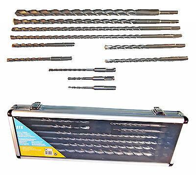 11-tlg Set SDS Plus Steinbohrer Hammerbohrer Bohrer f. Bosch Betonbohrer Koffer