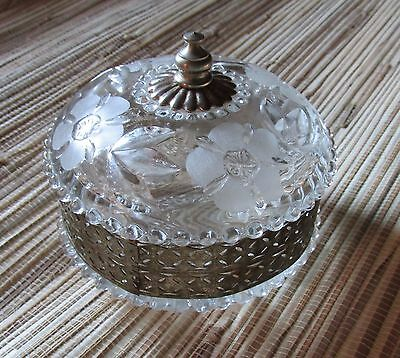 Vintage Cut Glass and Silver Powder Jar with Lid