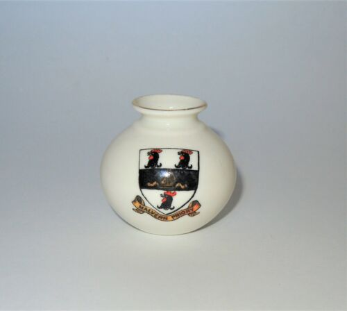WH GOSS Crested Heraldic China Miniature Model of Silchester Vase Malvern Priory