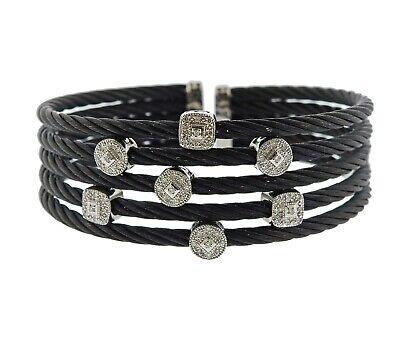 Philippe Charriol 18K  Gold Diamond Celtic Noir Steel Cable Cuff Bracelet $3450 Gold Diamond Cuff Bracelet