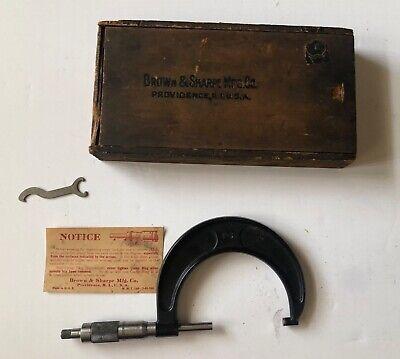 Brown Sharpe Micrometer Caliper 62rs 2 To 3 Vintage Original Box