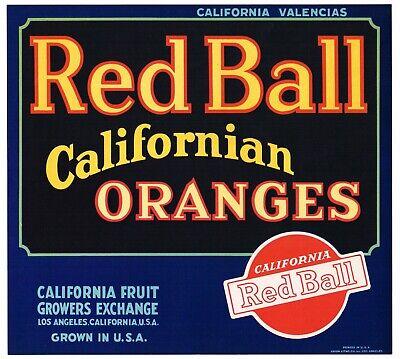 ORIGINAL 1930S ORANGE CRATE LABEL RED BALL LOS ANGELES VINTAGE FONT MATTE
