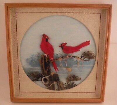 Vintage Avian Cardinals Bird Feather Art Scene Beautifully Matted Framed 10 x 10