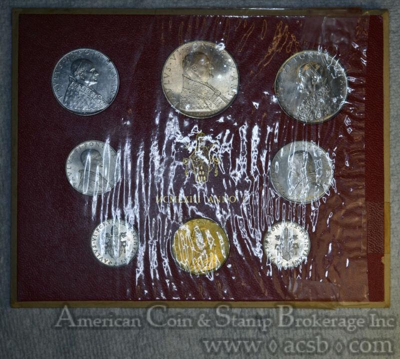 Vatican City 500 Lire 1963 CH BU 8 Coin Set WITH Silver 500 Lire Golden Gem