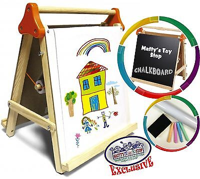 Deluxe 3-in-1 Wooden Tabletop Easel With Blackboard, Dry ...