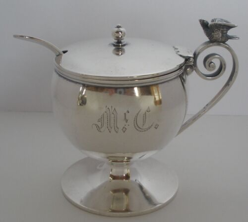 AMERICAN FIGURAL BIRD STERLING MUSTARD POT BY WILLIAM GALE SHREVE CRUMP LOW 1875