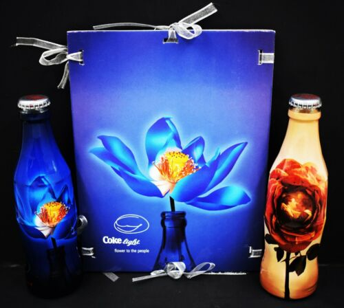 *VIP! Daniel Ost FLOWER TO THE PEOPLE Coca Cola 2 Bottle Set w PRESS info kit