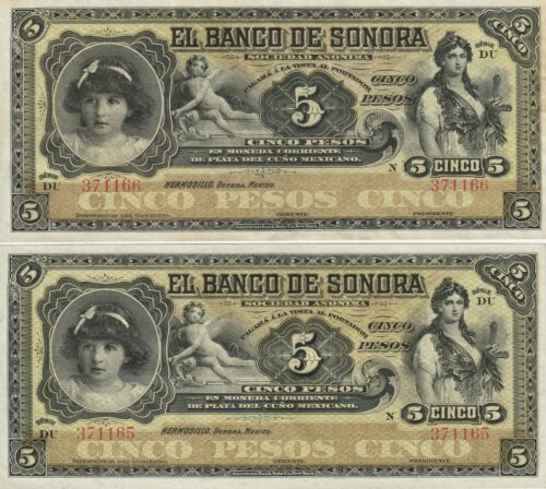MEXICO 5 PESOS  2 CONSECUTIVE NOTES  EL BANCO DE SONORA -HERMOSILLO -