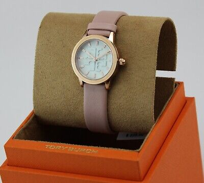 NEW AUTHENTIC TORY BURCH THE GIGI ROSE GOLD PINK LEATHER WOMEN'S TBW2006 WATCH