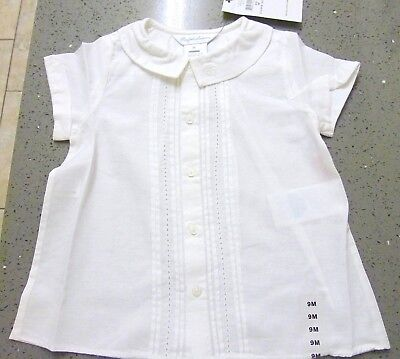 RALPH LAUREN Baby Girl White Cotton Blouse RL Collar Logo 9M NWT