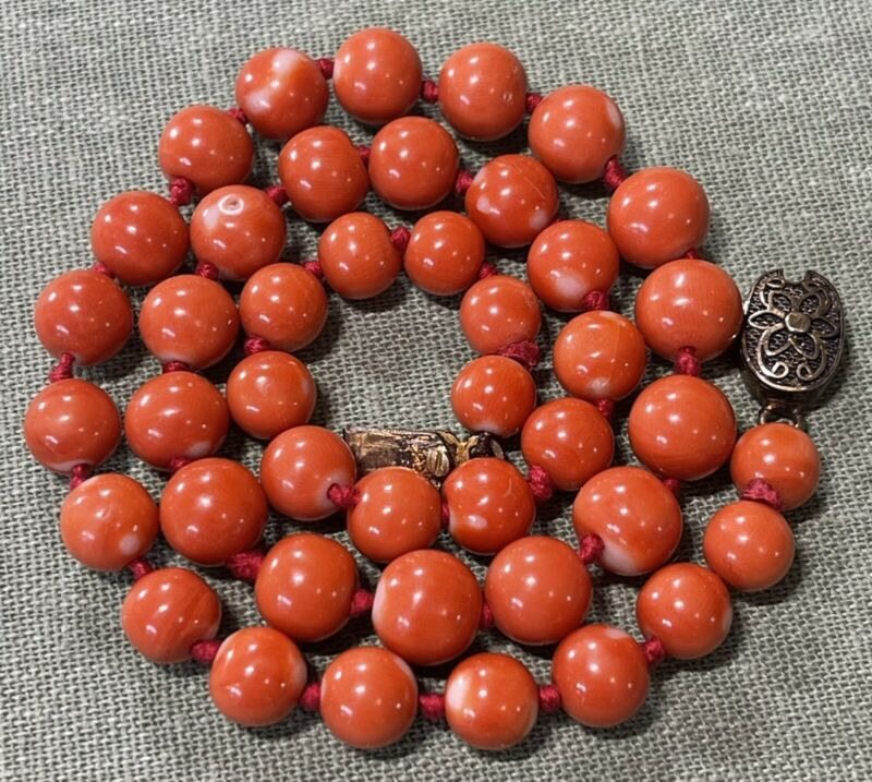 Antique Chinese Natural Coral Knotted Beads Necklace Sterling Filigree Catch