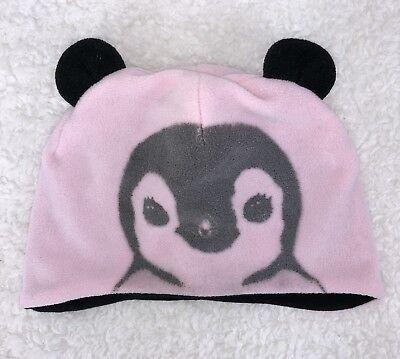 H&M Girls Beanie Size 1 1/2-4Y Light Pink Faded Penguin Black Ears Hat