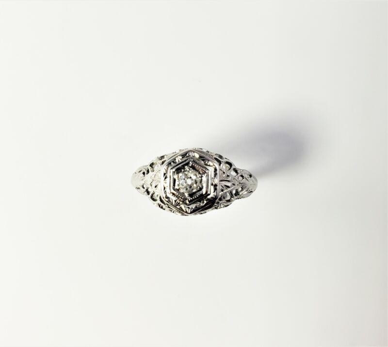 Vintage 10 Karat White Gold Filigree and Diamond Engagement Ring Size 3 #7528