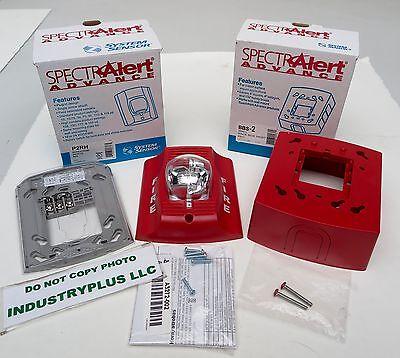 System Sensor SpectrAlert Advance P2RH Horn/Strobe W/ BBS-2 Wall Fire Alarm RED