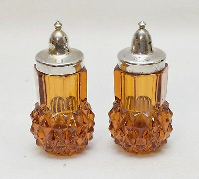 Vintage Amber Glass Diamond Cut Salt and Pepper Shakers