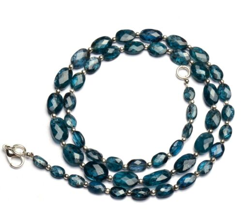"""Natural Gem Green Imperial Kyanite Faceted Oval Nugget Beads Necklace 20"""" 98Cts"""