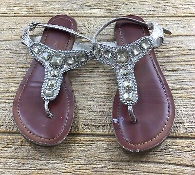 Cherokee Girls Thong Sandals Shoes Size 13 Gold Stones Dressy](Girls Dressy Shoes)