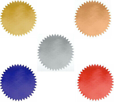 Shiny Foil Notary Certificate Seals 2 Inch Burst Pack 100 Seals - 6 Colors