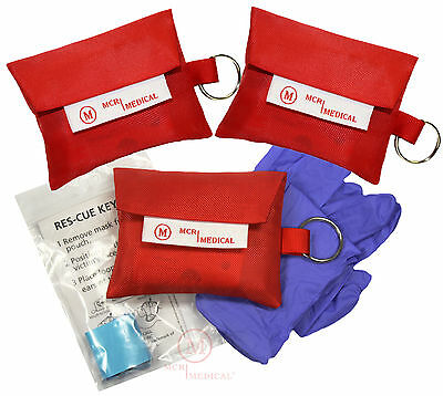 3-Pack CPR Mask Keychains with Nitrile Gloves, MCR Medical w Ambu (Ambu Cpr Mask)