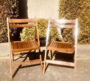 Vintage Teak Foldable Patio Chairs