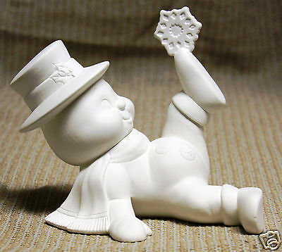 Ceramic Bisque Snowman Snowflake Foot Donas Mold 1051 U-Paint Ready To Paint