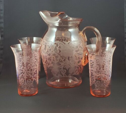 Tall Pink Cambridge Glass Co. Pitcher and Four Tumblers etched #695 from 1920s