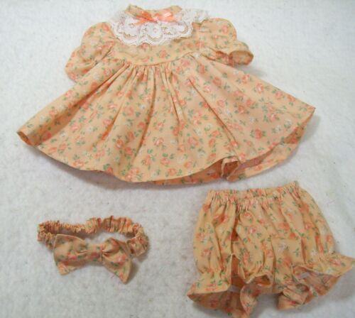 "PEACH ROSES  DRESS,  PANTIES, & HEADBAND-- FITS 18"" GIRL DOLLS"