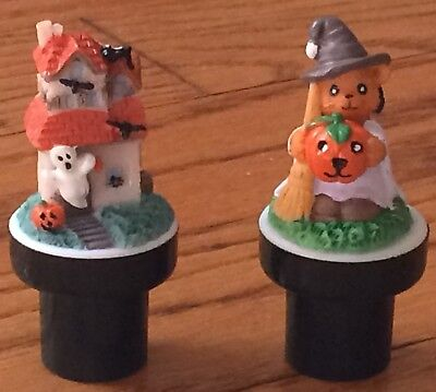 Halloween Mini Marker Pen Toppers Stampers Haunted House Witch Bear Figures GUC