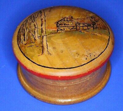 Treen wooden carved turned trinket box,  W:5 cm [21883]