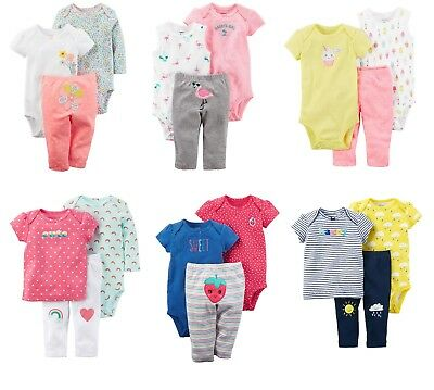 NEW Girls Carters 3 Piece Sets Newborn 3 6 9 12 Months Rainbow Sunshine Cupcake