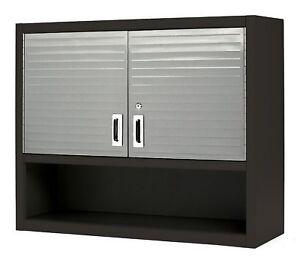 Metal Locking Wall Cabinet Tool Shop Garage Storage Shelf Red Heavy Duty  Steel