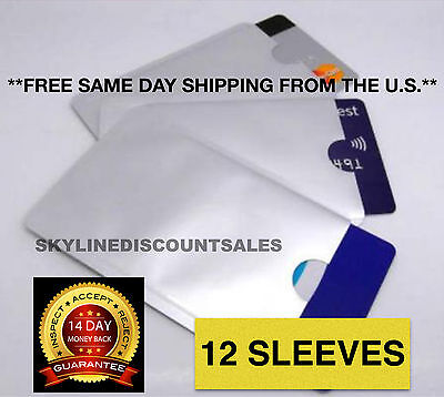 12 PACK HIGH LEVEL RFID Blocking Credit Card Sleeve Protector Shield WaterProof
