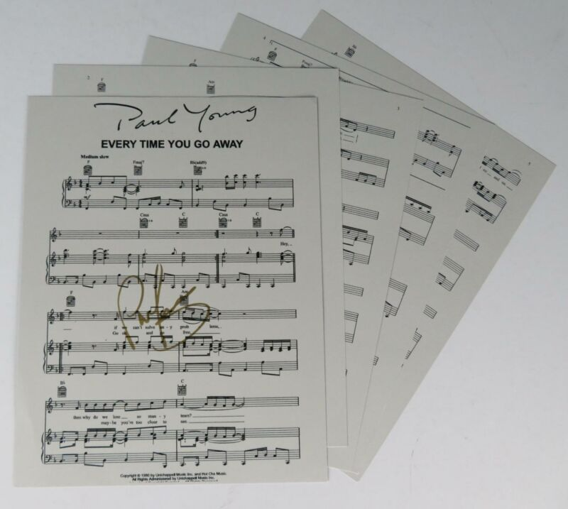 """PAUL YOUNG Signed Autograph """"Every Time You Go Away"""" Sheet Music"""