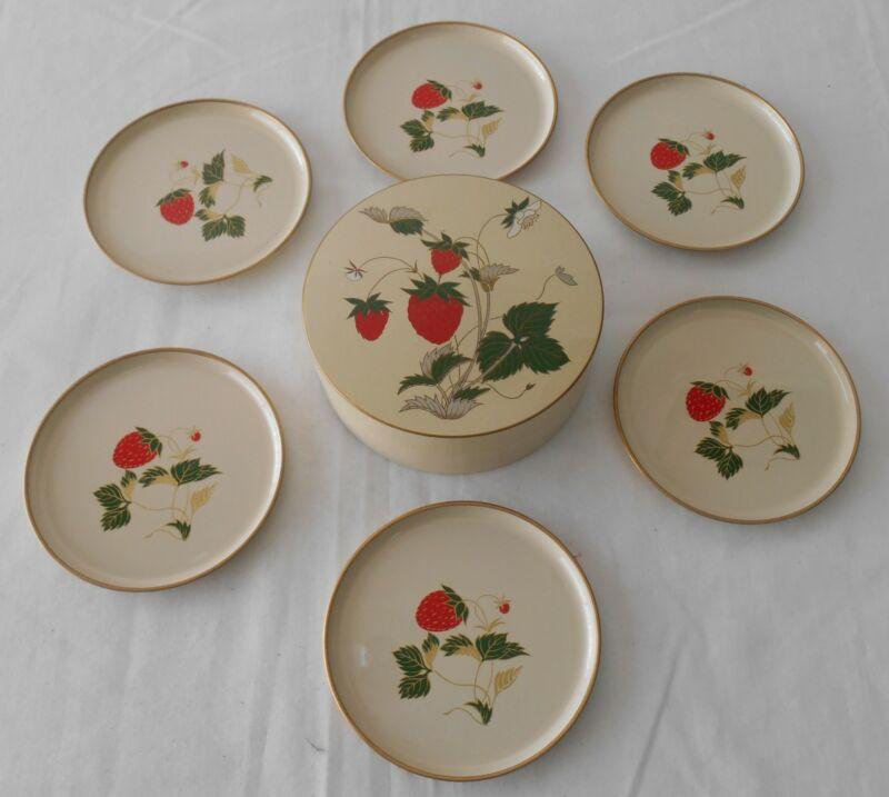 Vintage Otagiri Coaster Set Strawberry Flora Chinoiserie  set of 6