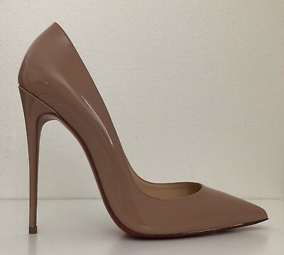 Christian Louboutin Nude Patent So Kate Pointed Toe Pump Shoes sz 9 / 39.5
