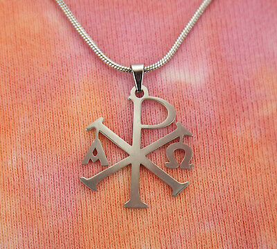 Alpha Omega Chi Rho Necklace, Stainless Steel Christogram Chrismon Charm Pendant Alpha Omega Jewelry