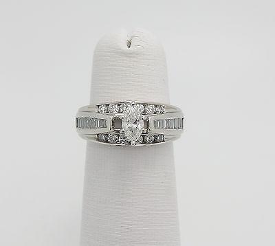 Zales 1CT Marquise Cut Diamond Engagement Wedding Ring 14K White Gold