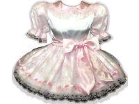 "/""Maureen/"" Custom RED /& WHITE Satin Rose Petals Adult LG Baby Sissy Dress LEANNE"