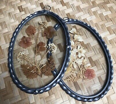 Vintage Witch Bohemian Pressed in Glass Dried Flowers Pewter Twisted Frame -