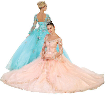 CINDERELLA BELL SLEEVES MASQUERADE FORMAL GOWN SWEET 16 QUINCEANERA BALL DRESSES](Cinderella Gown)