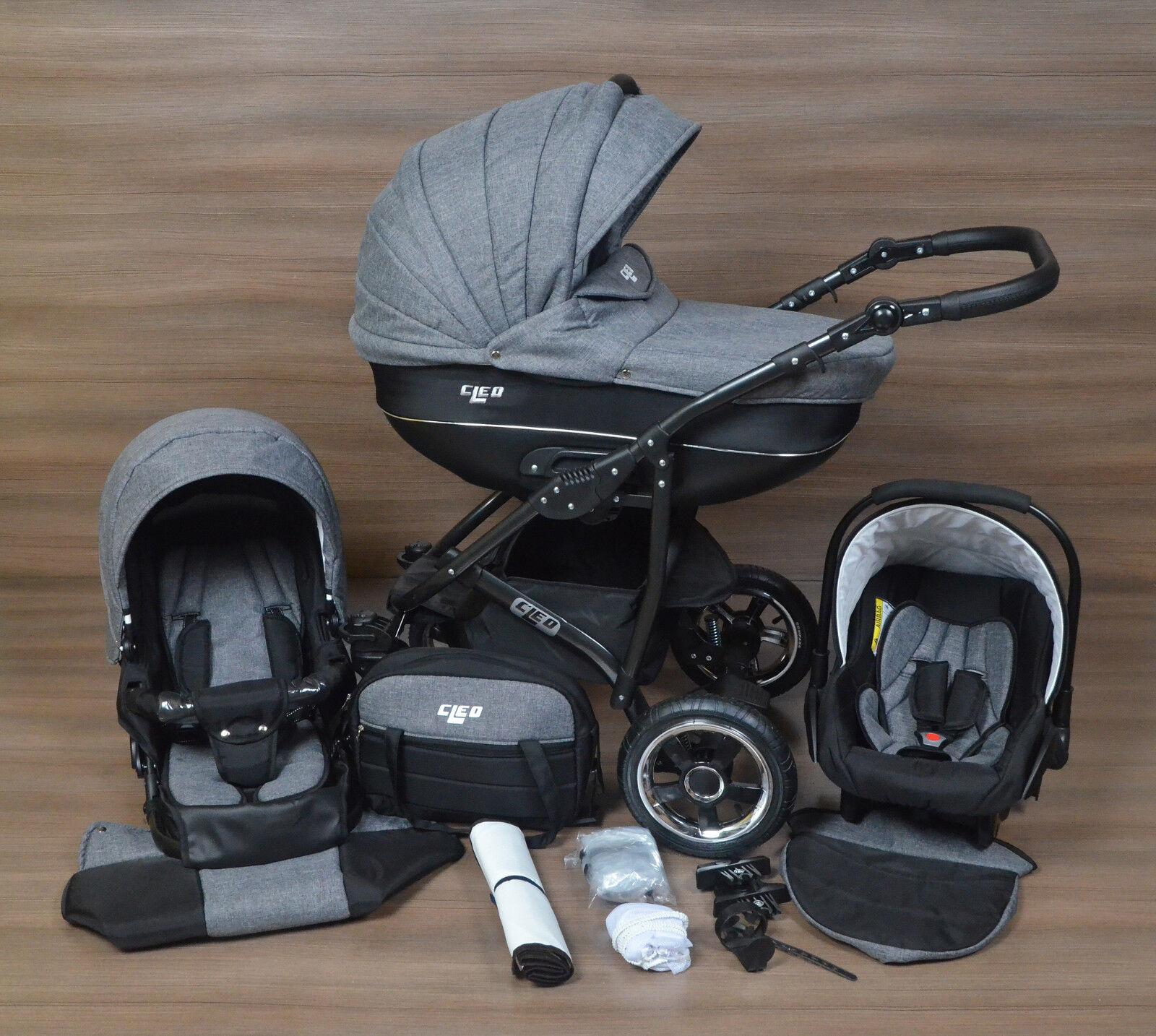 LUXUS Kombi Kinderwagen CLEO 3in1mit Babyschale Autositz Babywanne Sportsitz NEU